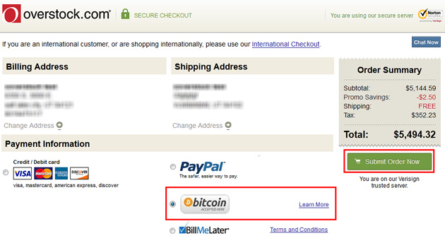 Bitcoin Payment On Overstock