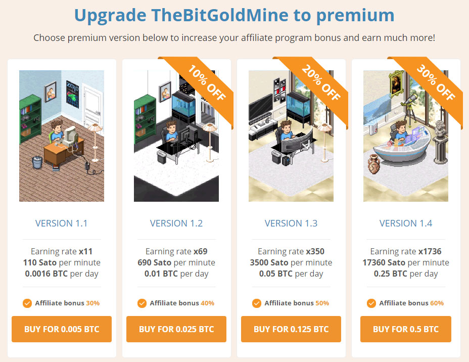 Bitcoin Goldmine Paid Upgrades