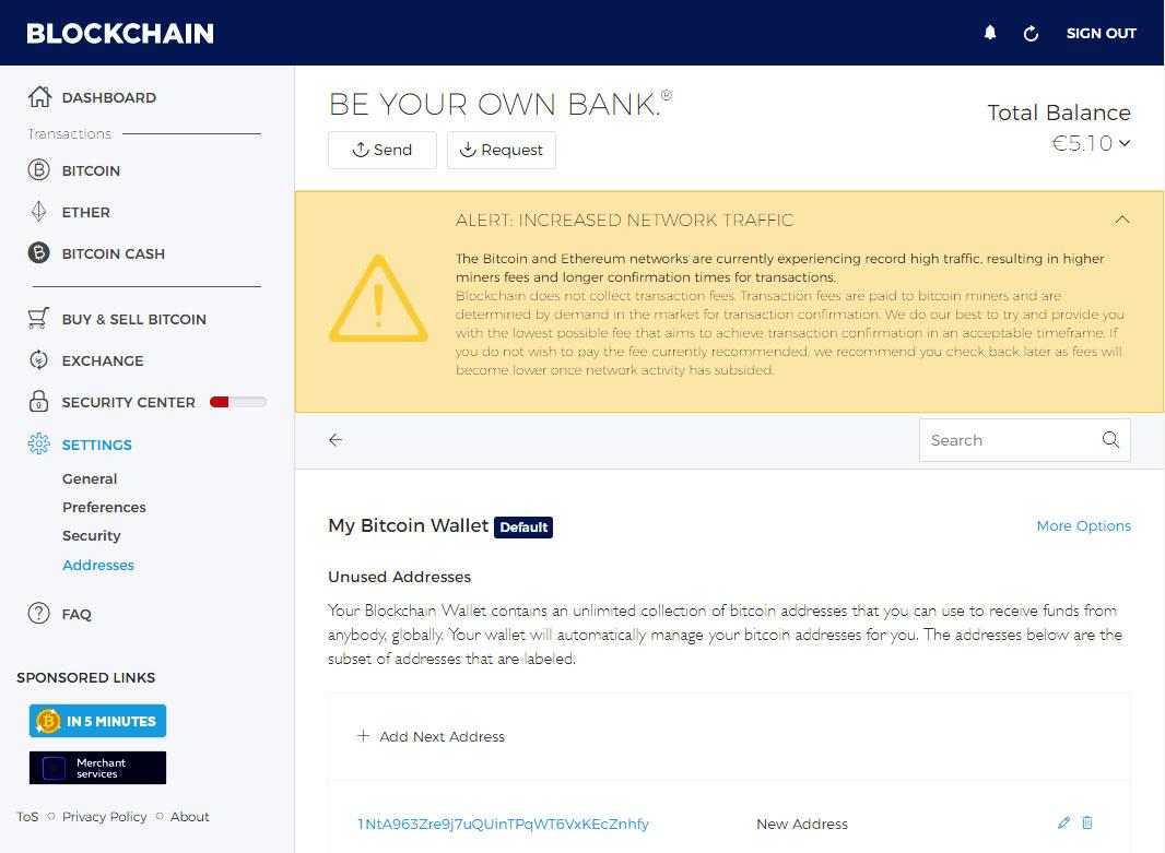 Blockcahin.info New Bitcoin Address Example