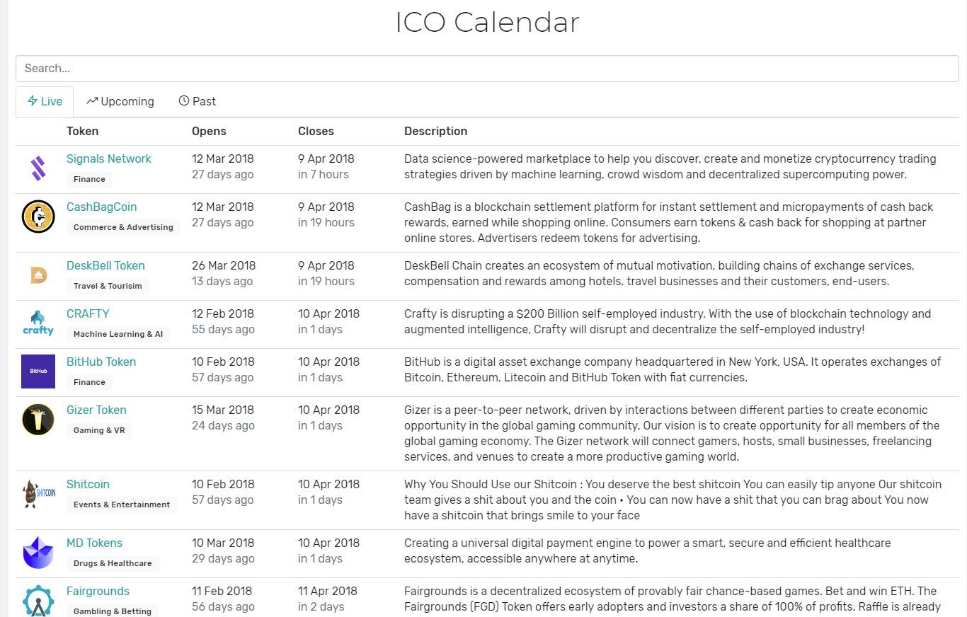 CryptoSuite ICO Calendar